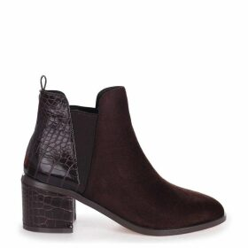 DONNA - Brown Suede & Patent Croc Pull On Block Heeled Ankle Boot