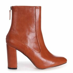 ONLY LOVE - Tan Nappa Round Toe Block Heeled Boot