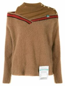 Maison Mihara Yasuhiro Racoon panelled cut-out jumper - Brown