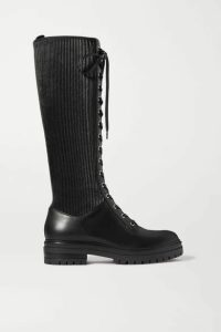 Gianvito Rossi - Lace-up Leather Knee Boots - Black