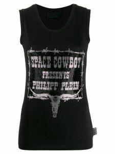 Philipp Plein rhinestone cowboy tank top - Black