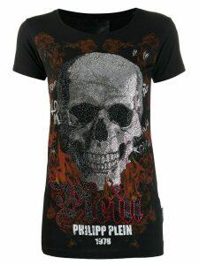 Philipp Plein skull print logo T-shirt - Black