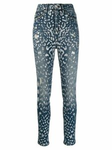 Philipp Plein paint print skinny jeans - Blue