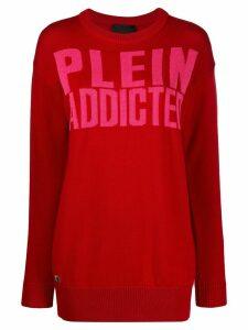 Philipp Plein logo print longline jumper - Red