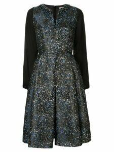 Dice Kayek splattered jacquard flared dress - Blue