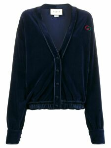 Gucci velvet button-front cardigan - Blue