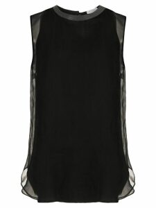 Brunello Cucinelli sheer layer silk blouse - Black