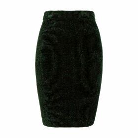 Helmut Lang Dark Green Ribbed Chenille Skirt