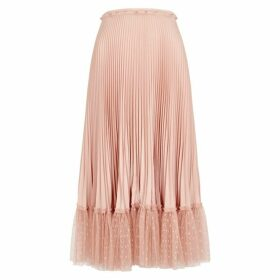 RED Valentino Blush Point D'esprit-trimmed Pleated Midi Skirt