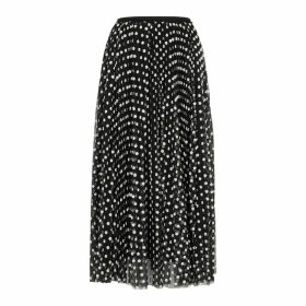 RED Valentino Floral-embroidered Tulle Midi Skirt