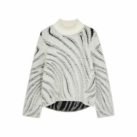 3.1 Phillip Lim Monochrome Distressed Knitted Jumper
