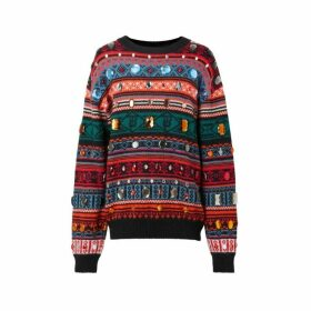Burberry Embellished Fair Isle Mohair Wool Blend Sweater