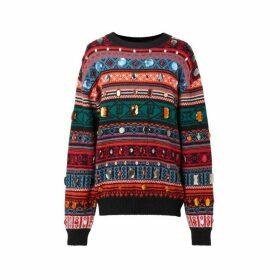 Burberry Embellished Fair Isle Mohair Wool Blend Sweater