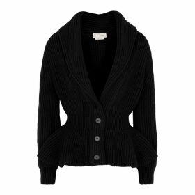 Alexander McQueen Black Peplum Wool-blend Cardigan