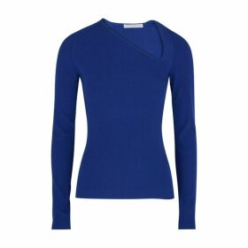 Helmut Lang Blue Asymmetric Ribbed Jumper