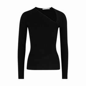 Helmut Lang Black Asymmetric V-neck Jumper
