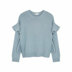 RED Valentino Blue Ruffle-trimmed Jumper