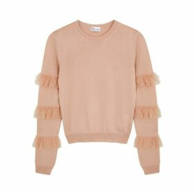 RED Valentino Blush Point D'esprit-trimmed Wool Jumper