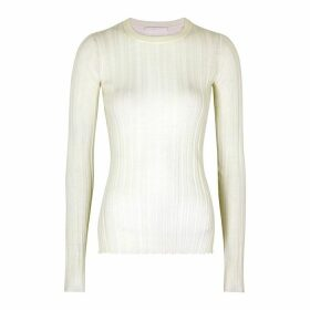Helmut Lang Off-white Ribbed Merino Wool Jumper