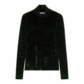 Helmut Lang Dark Green Ribbed Chenille Jumper