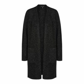 EILEEN FISHER Black Metallic Wool-blend Cardigan