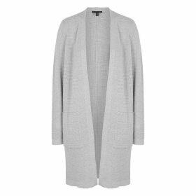 EILEEN FISHER Grey Metallic Wool-blend Cardigan