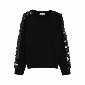 Bella Freud Lady Day Black Embellished Wool Jumper
