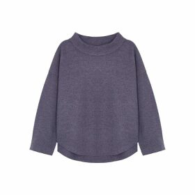 EILEEN FISHER Purple Funnel-neck Wool Jumper
