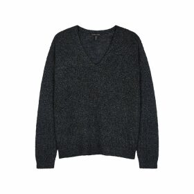 EILEEN FISHER Black Metallic Linen-blend Jumper