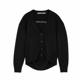 Alexander Wang Black Zip-embellished Wool Cardigan