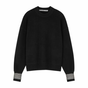 Alexander Wang Black Crystal-embellished Wool-blend Jumper