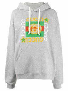 Gucci star logo print hoodie - Grey