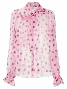 Dolce & Gabbana polka dot pussy bow blouse - PINK