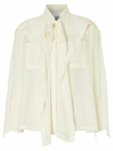 Burberry ruffled pussy-bow blouse - White