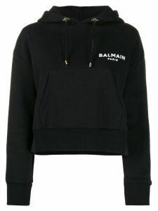Balmain logo cropped hoodie - Black
