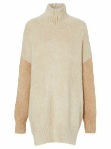 Burberry contrast-sleeve mohair jumper - NEUTRALS