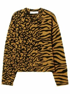 Proenza Schouler White Label Animal Jacquard Knit Pullover - Black