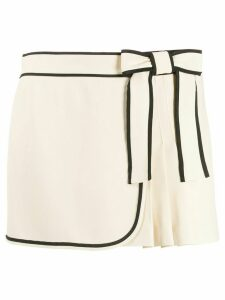 RedValentino contrasting trim bow pleated shorts - NEUTRALS