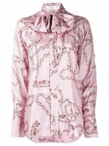 Victoria Beckham tie neck chain print blouse - PURPLE