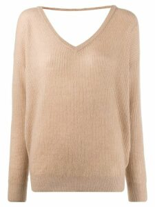 Brunello Cucinelli ribbed V-back jumper - NEUTRALS