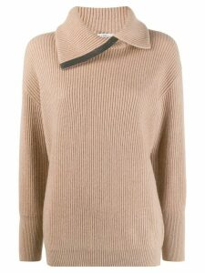 Brunello Cucinelli spread collar jumper - NEUTRALS