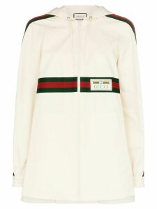 Gucci Web stripe logo patch hoodie - White