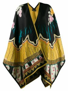 Etro knitted floral pattern cape - Yellow