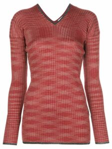 M Missoni v-neck ribbed knit jumper - Red