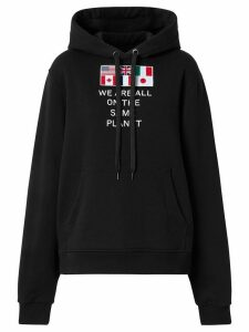 Burberry flag appliqué hoodie - Black
