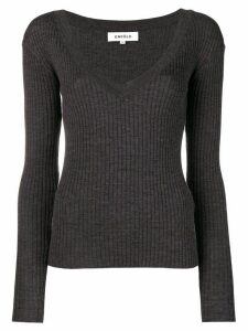 Enföld ribbed V-neck jumper - Grey