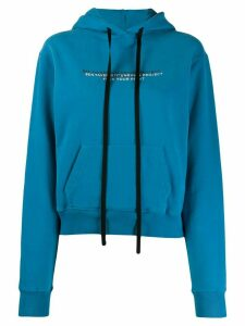 Unravel Project long sleeve slogan detail hoodie - Blue