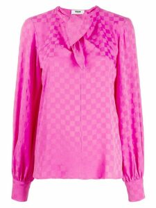 MSGM bow tie checked blouse - PINK