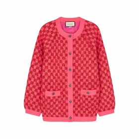 Gucci Neon Pink Checked Wool-blend Cardigan
