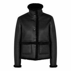 Tory Burch Black Reversible Shearling Jacket